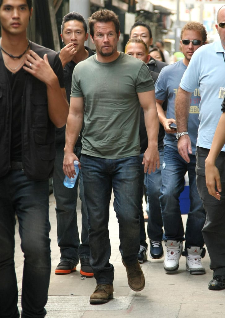 Mark Wahlberg walked the streets of Hong Kong while filming Transformers: Age of Extinction on Sunday.