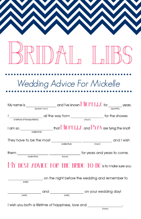 Bridal Mad Libs