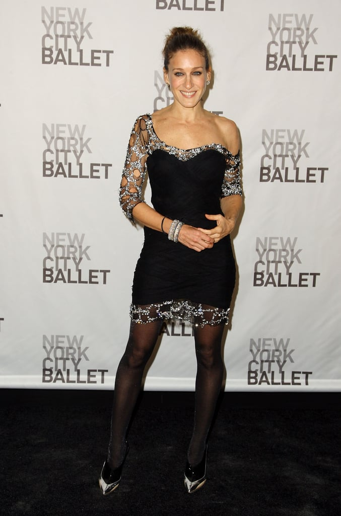 At the 2008 NYC Ballet Opening, Parker styled a diamond-trim Balmain creation with futuristic silver-and-black Balenciaga pumps.