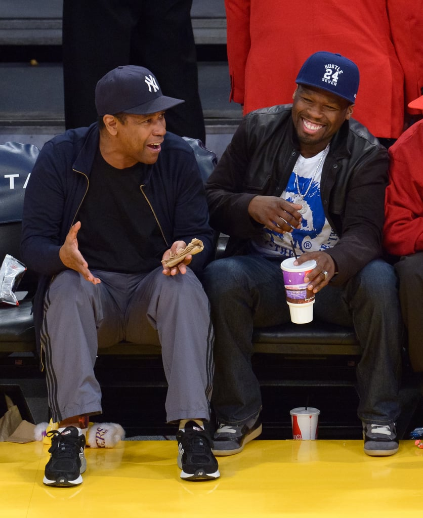 Denzel Washington and 50 Cent shared a laugh while sitting courtside at an LA Lakers game in April 2013.