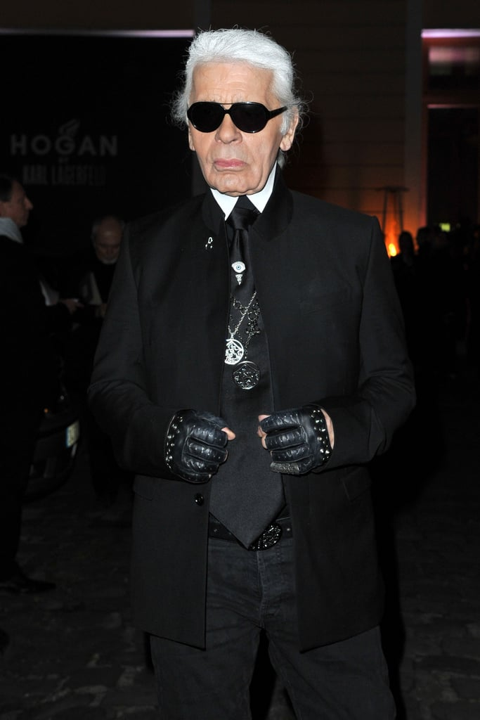 Karl Lagerfeld showed off his signature uniform at his Hogan presentation — we love the studded gloves.