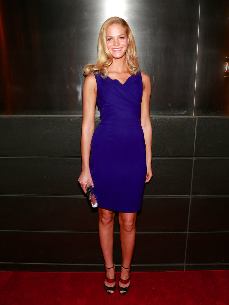 Erin Heatherton went with a vibrant color and a shorter hemline for her appearance at the Spring dinner event.