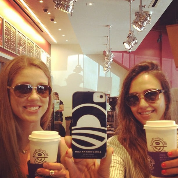 In August 2012, Jessica Alba used a handy coffee-shop mirror to take a photo of herself and a friend.  Source: Instagram user jessicaalba