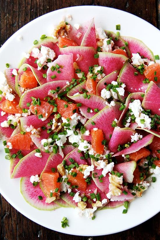 Watermelon Radish, Orange, and Goat Cheese Salad