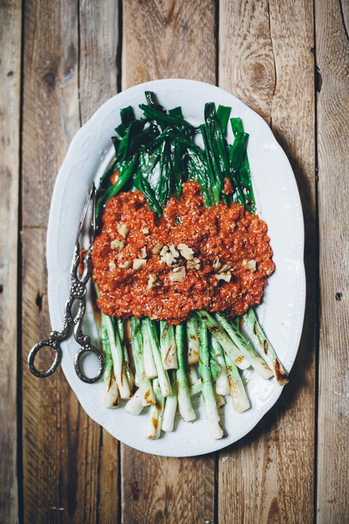 Grilled Scallions With Walnut Romesco Sauce