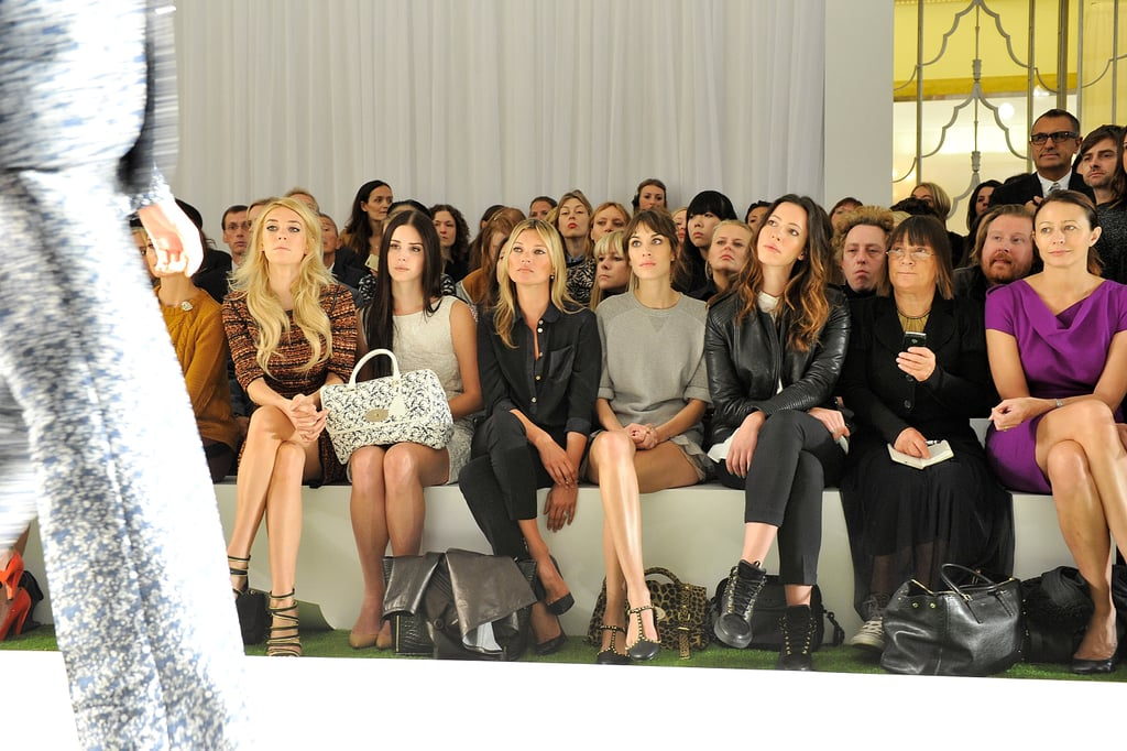 Kate Moss sat front row at the Mulberry show during London Fashion Week next to Alexa Chung, and Lana del Rey.