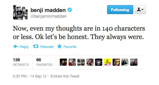 Benji Madden talks himself up.