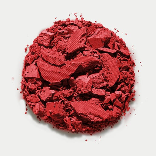 She paired neon-green shadow with Matte Finish Blush in Cinnabar ($23) and a matching red lip hue.