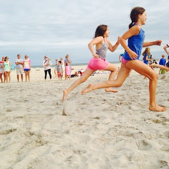Christy Turlington's daughter, Grace Burns, inherited her mom's running skills, which she demonstrated on the beach. Source: Instagram user cturlington
