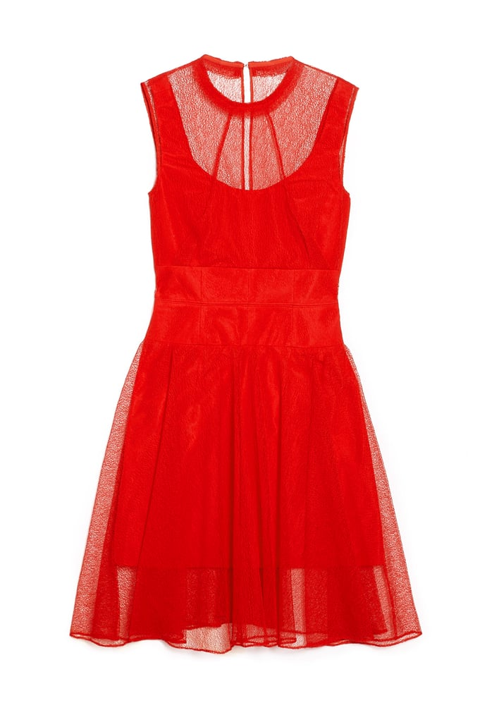 Carven makes what could have been a simple red dress ready for cocktail hour thanks to a mesh overlay that highlights the scoop neck ($578).