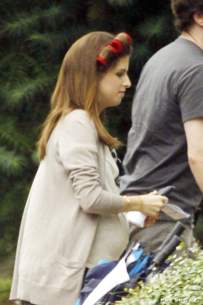 Anna Kendrick sported a fake baby bump while filming scenes for The Hollars in Jackson, MS, on Friday.
