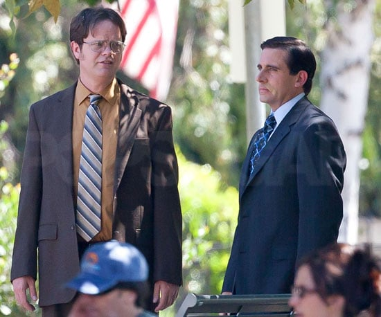 Slide Picture of Steve Carell and Rainn Wilson Filming The Office