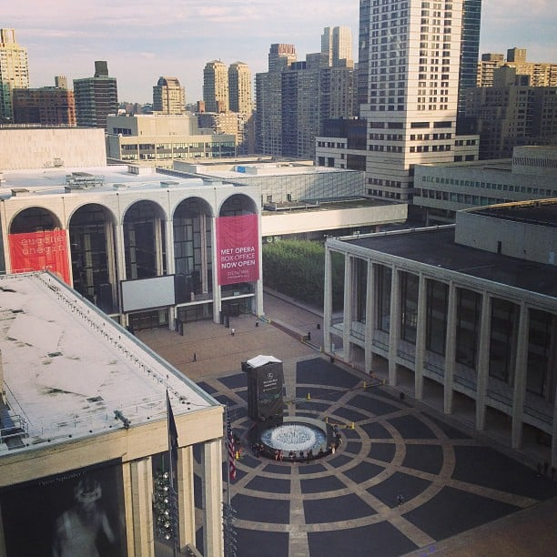 The view from above Lincoln Center . . . and so it begins.