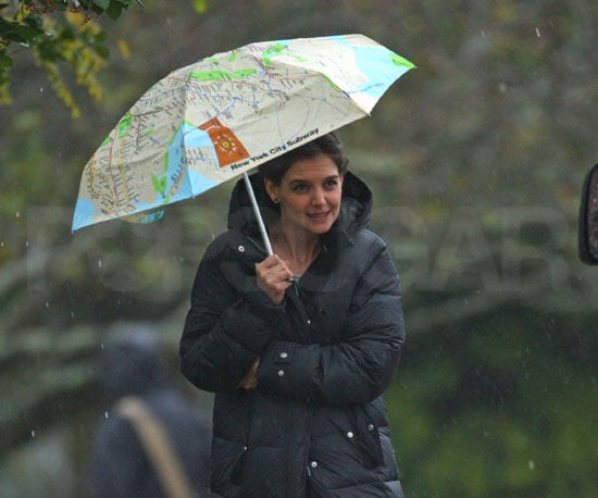Slide Photo of Katie Holmes With an Umbrella on Long Island