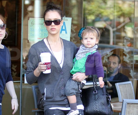 Slide Photo Of Jessica Alba with Honor Marie on Her Hip in LA