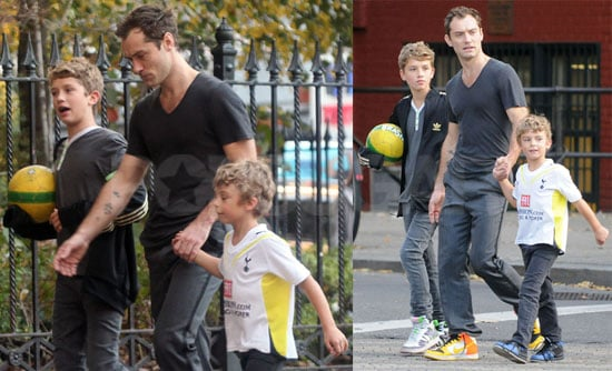 Photos of Jude Law With Sons Rafferty and Rudy While Baby Sophia Debuts in Hello!