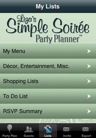 Liza's Simple Soirée Party Planner