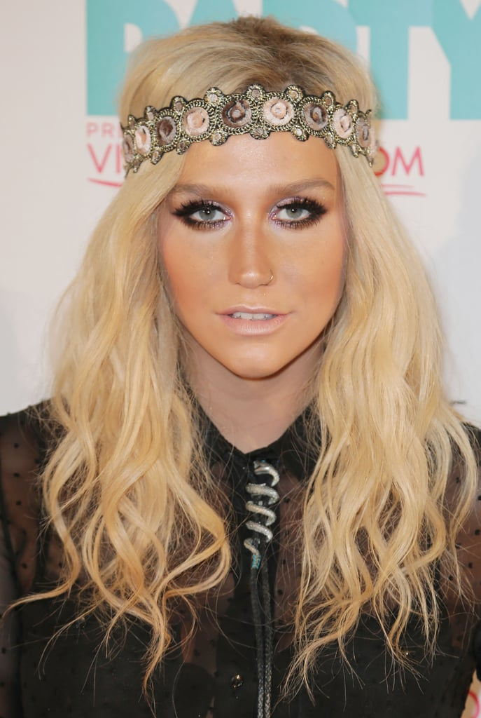 Ke$ha went with a bohemian vibe at the iHeartRadio Ultimate Pool Party, wearing a rosette headband and smoky eye makeup.
