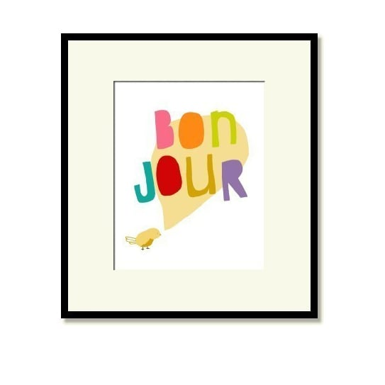 The playful bonjour bird print ($20) is an ideal pick for your tot's nursery.