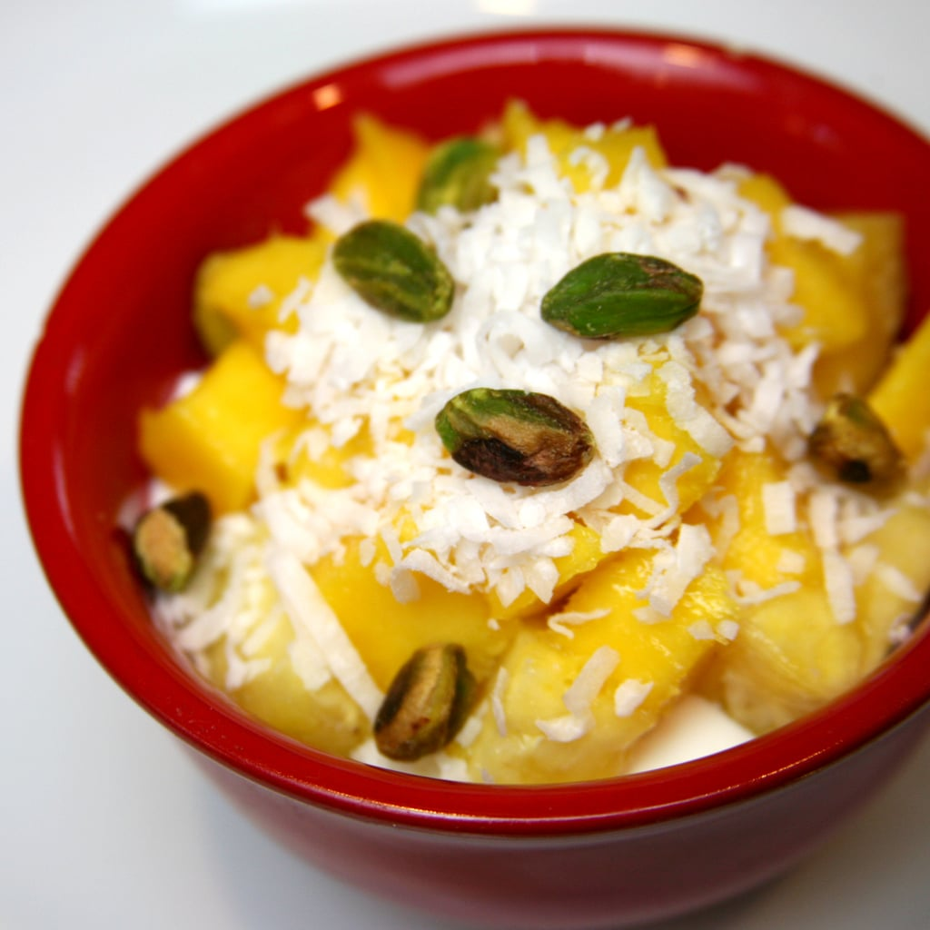 Mango and Pineapple With Shredded Coconut and Pistachios