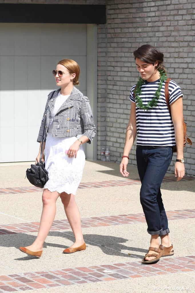 Dianna Agron left the bash with a friend.