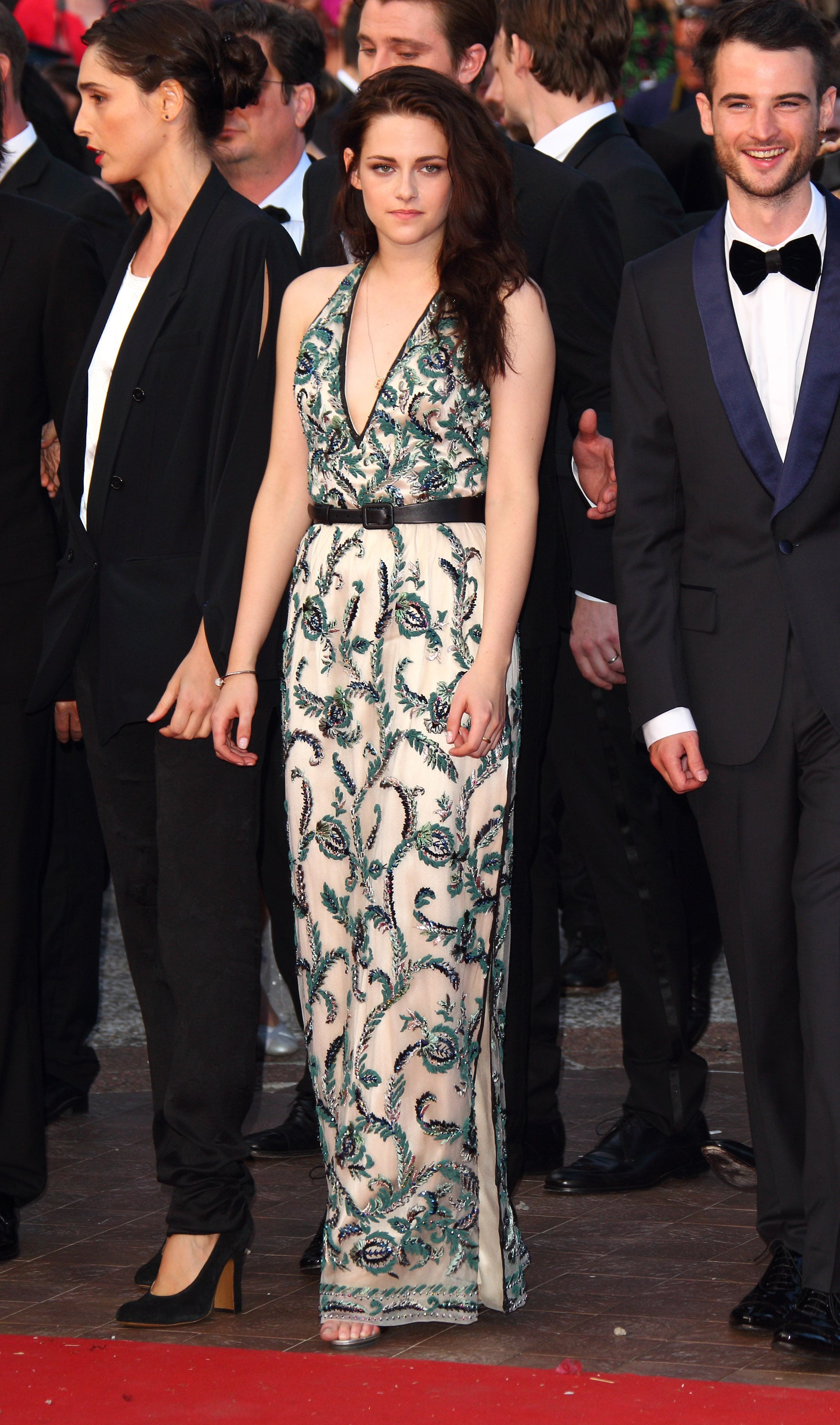 Stewart attended the 2012 Cannes Film Festival premiere of On the Road in a printed Balenciaga gown, featuring a sexy thigh-high side slit, and perfectly tousled waves.