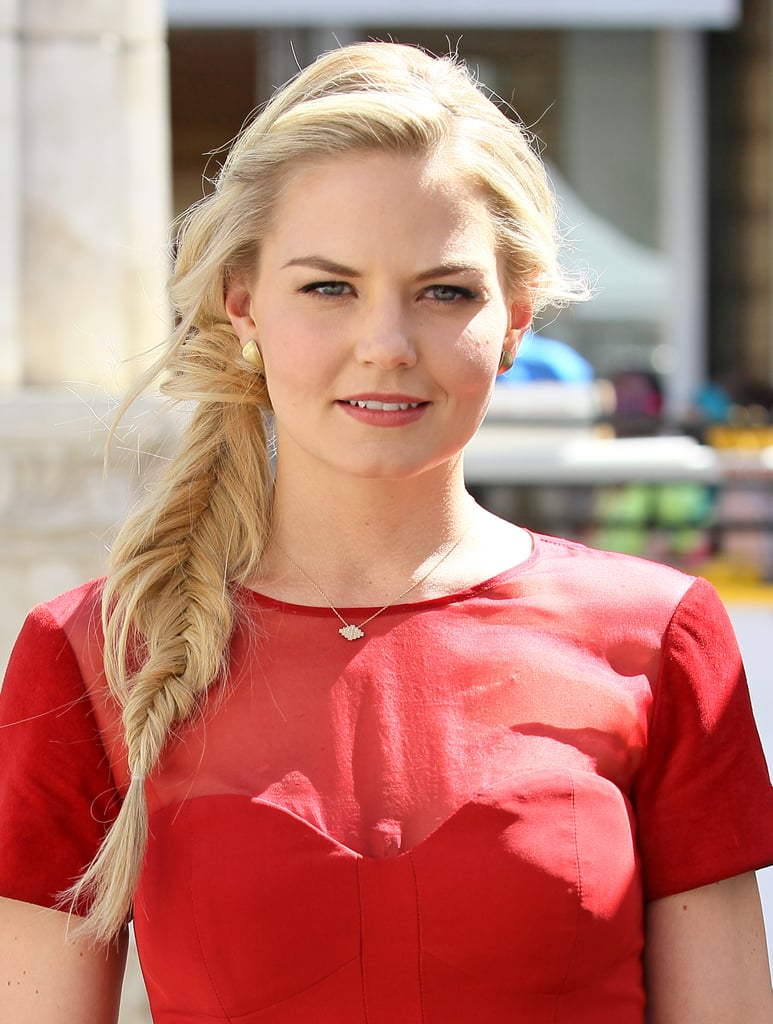 Pulling on a fishtail braid to widen it, like Jennifer Morrison did while out in Los Angeles, adds instant texture without any product.