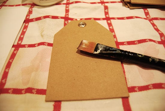 The cardboard tag ready for glue
