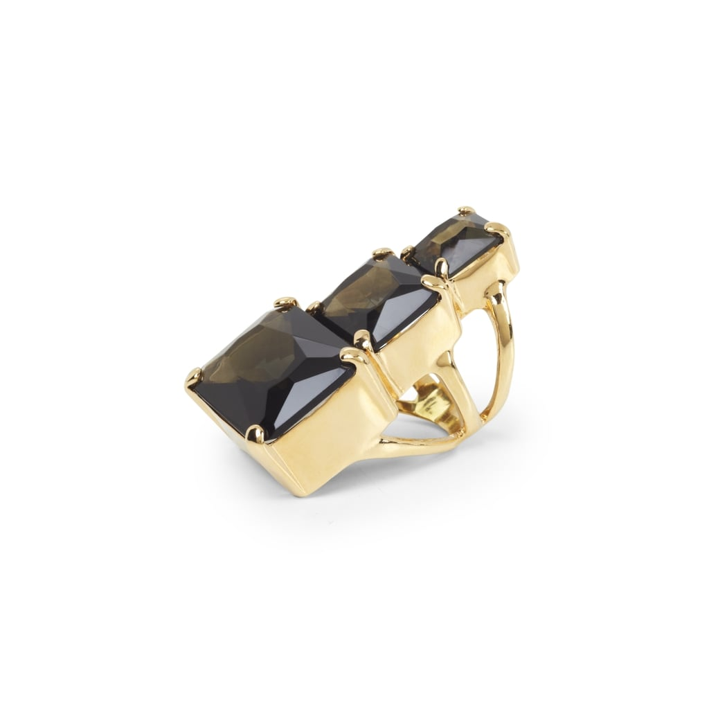 BCBG's oversize statement ring ($58) is triple the fun thanks to the pretty stacked stone detail.