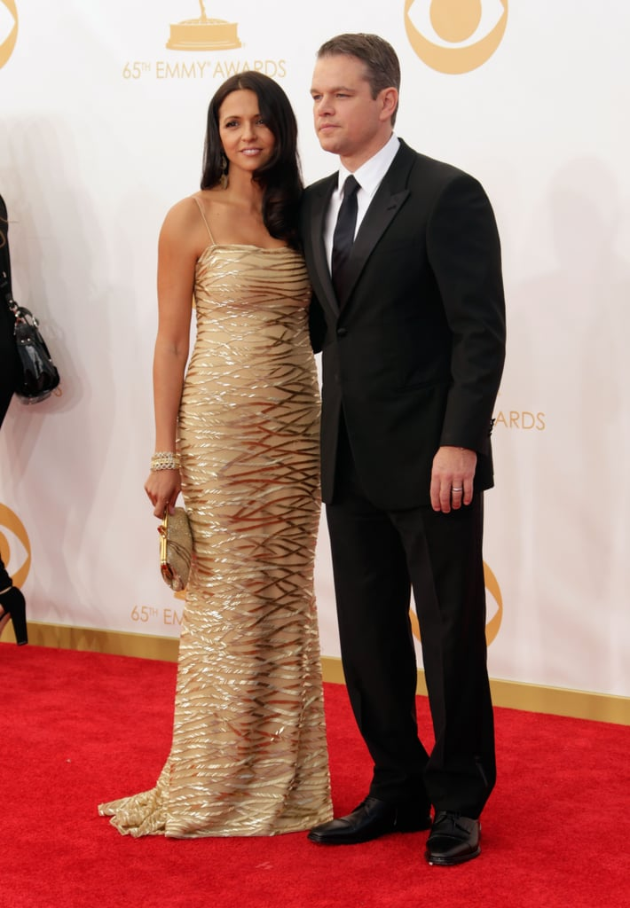 Matt Damon posed with his wife, Luciana, on the Emmys red carpet.