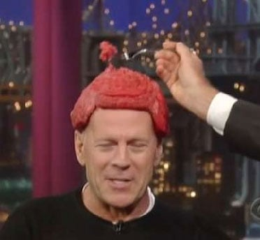 Bruce Willis Wears a Meat Hat Inspired by Lady Gaga on The Late Show with David Letterman