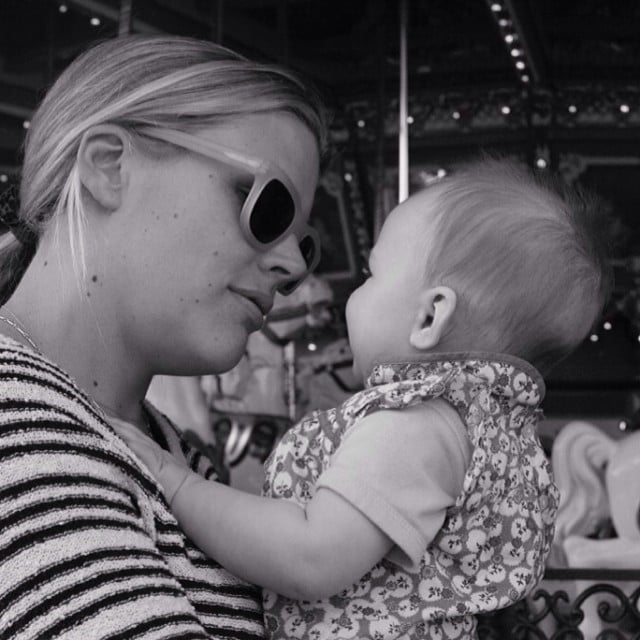 Cricket Silverstein rode the merry-go-round with her mama, Busy Philipps. Source: Instagram user busyphilipps
