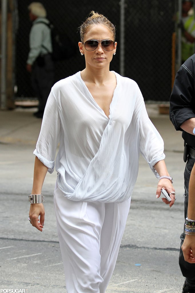 Jennifer Lopez wore a flowy white outfit around NYC.