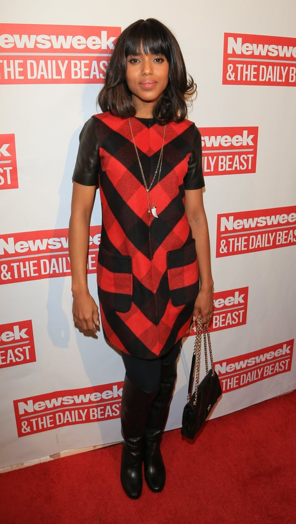 Kerry Washington celebrated The Daily Beast's bipartisan inauguration brunch wearing a Michael Kors plaid and leather dress styled with knee-high boots and a Chanel bag.