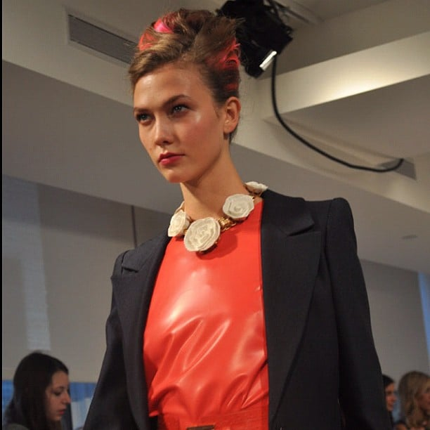 Karlie Kloss looked serious for her jaunt down the catwalk at Oscar de la Renta. Source: Instagram user fashion_critic_