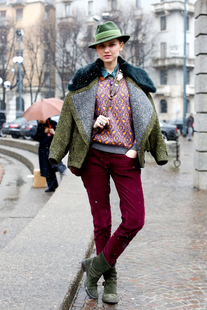 Mixed prints and cozy texture made this layered look pop.
