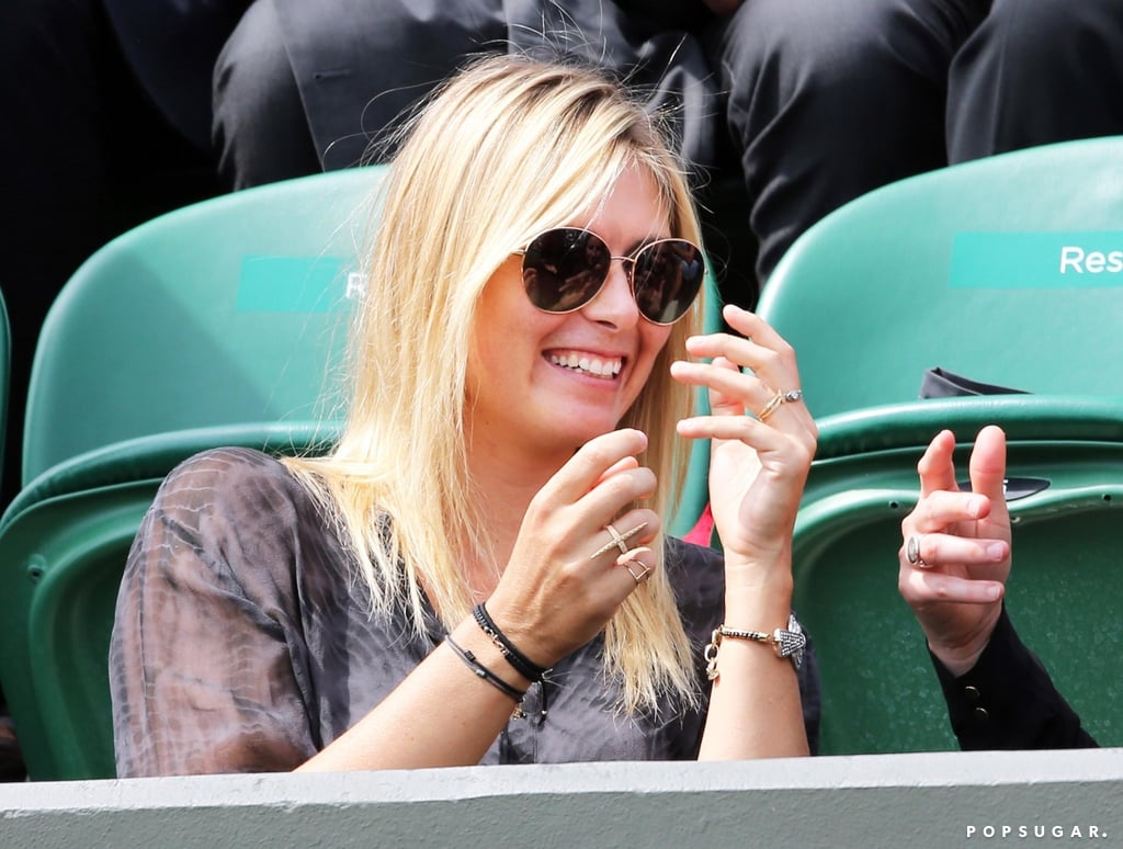 Tennis star Maria Sharapova watched her male peers during Wimbledon's day-three action in London on Thursday.