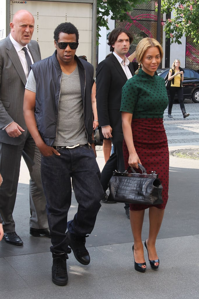 Beyoncé was ladylike in a polka-dot Marc Jacobs dress while Jay Z stayed cool in a vest and black sneakers in Paris in 2011.