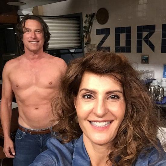 John Corbett Shirtless on My Big Fat Greek Wedding 2 Set