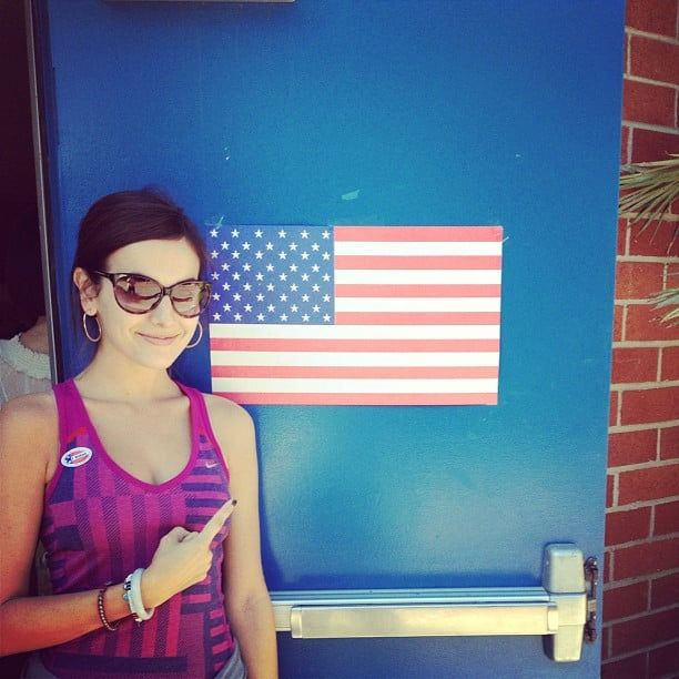 Camilla Belle showed her American pride leaving the voting polls. Source: Instagram user camillabelle86