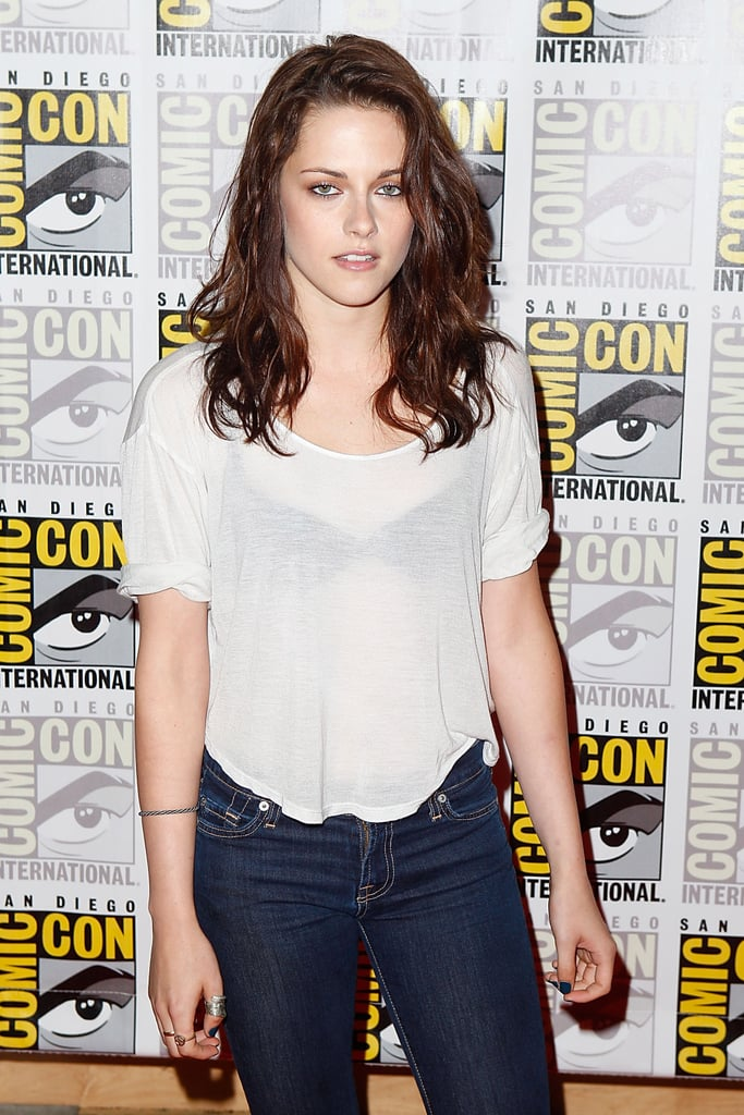 Kristen Stewart wore a see-through tee to a Breaking Dawn event at Comic-Con in San Diego during July 2011.