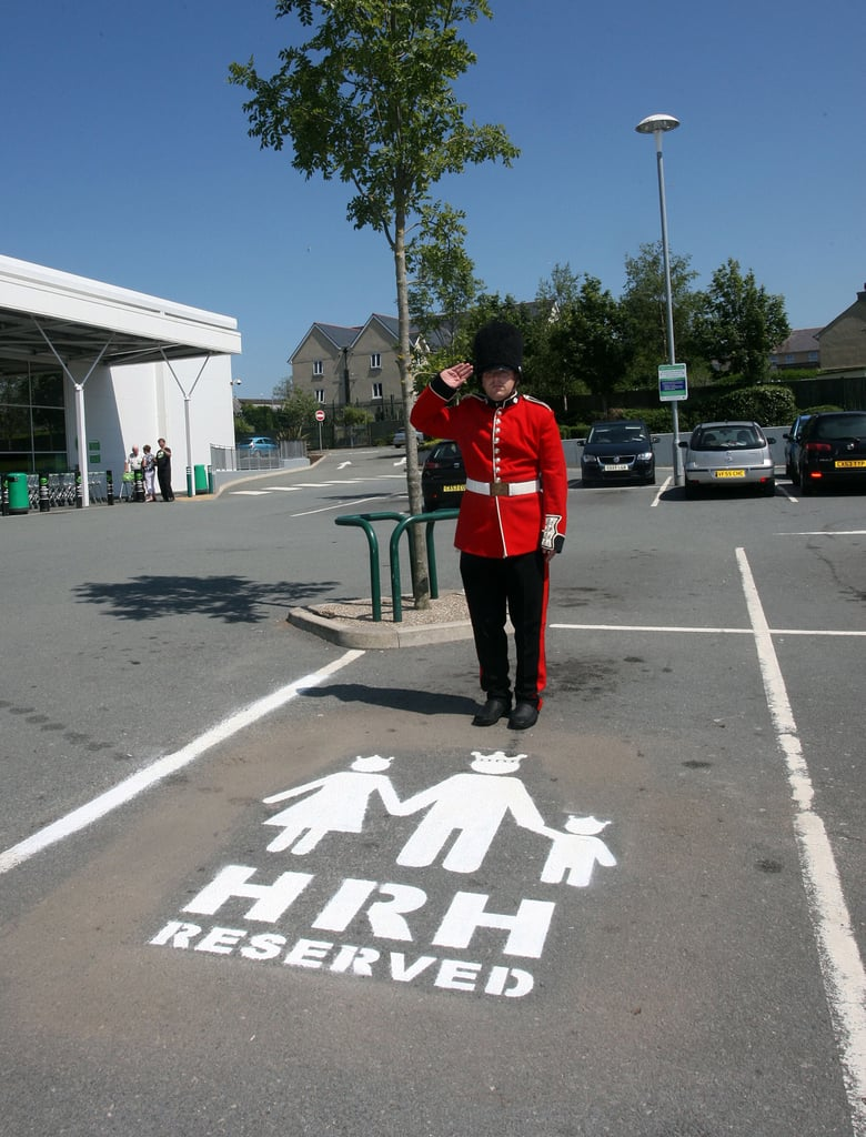 Outside a Wales supermarket, there's a space reserved for His or Her Royal Highness.
