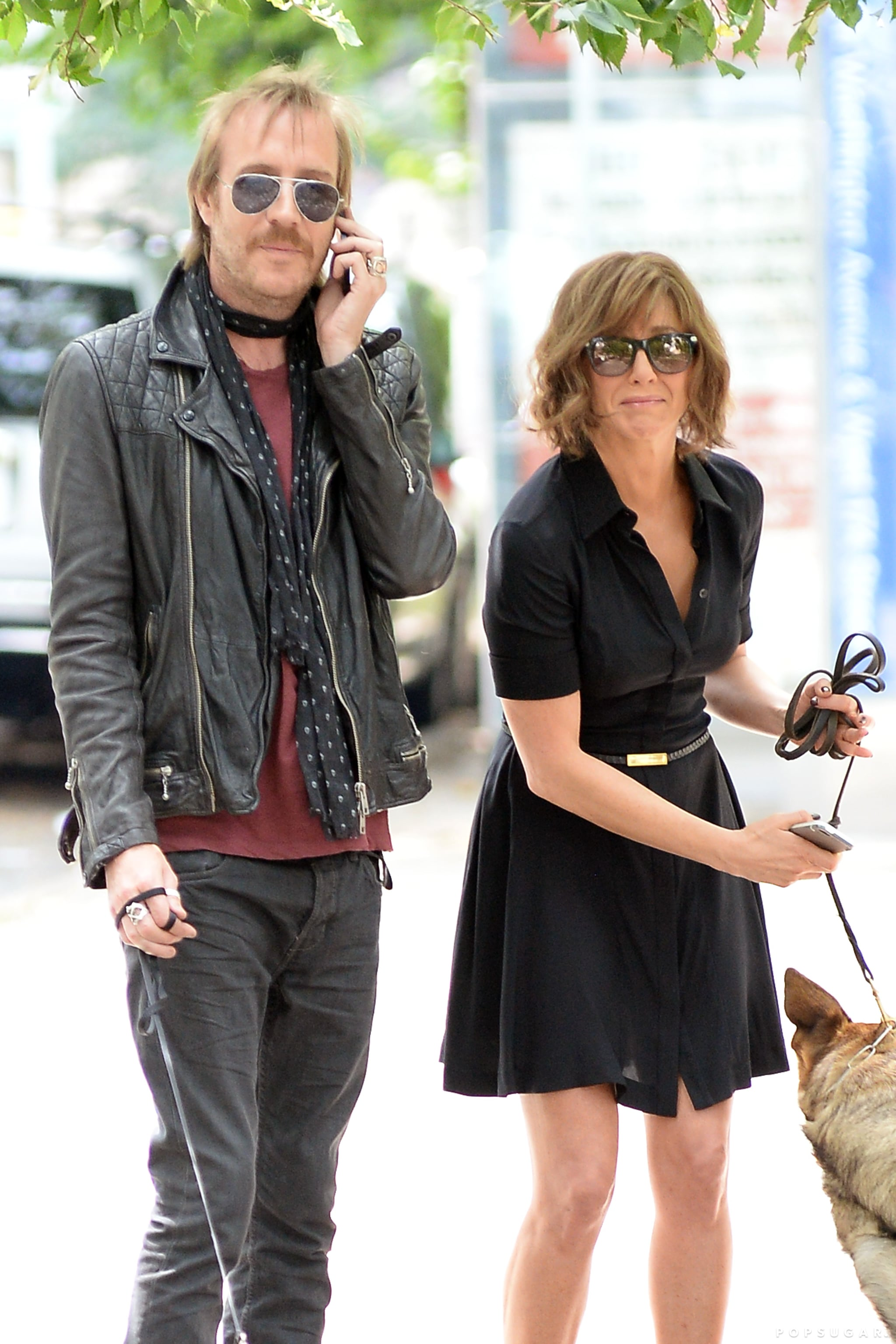 Jennifer Aniston filmed a scene with Rhys Ifans in NYC on July 31.