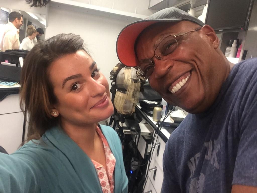 Michele posed with Paris Barclay, who writes and directs for Sons of Anarchy as well as Glee. Source: Twitter user msleamichele