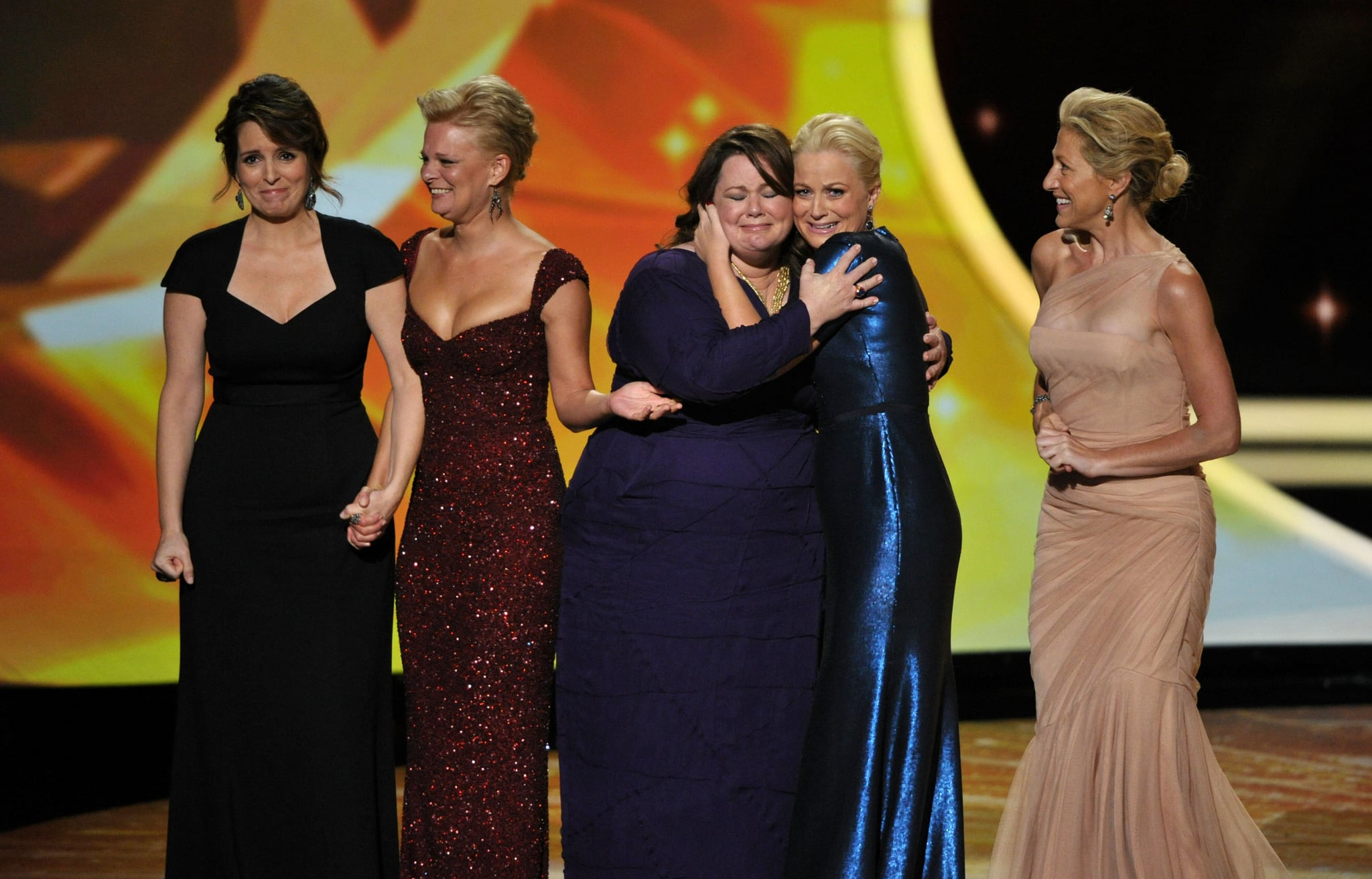 Best actress in a comedy nominees Tina Fey, Martha Plimpton, Melissa McCarthy, Amy Poehler, and Edie Falco took the stage together in 2011.