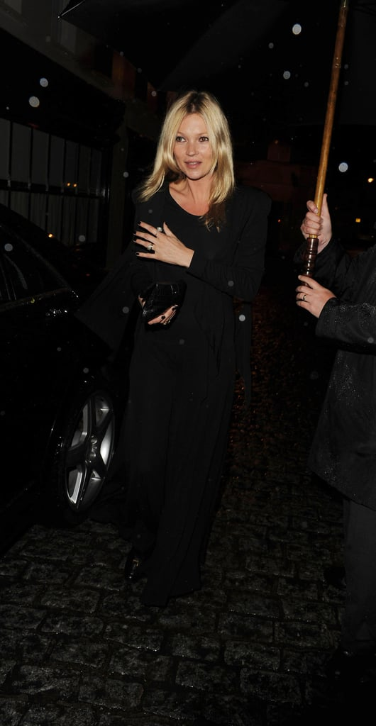 Kate Moss ventured out in rainy London.