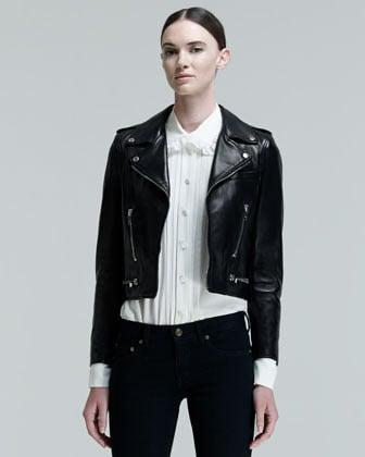 Saint Laurent Cropped Leather Motorcycle Jacket