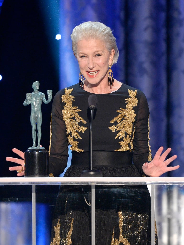 Helen Mirren looked delighted to win for outstanding performance by a female actor in a TV movie for her work in Phil Spector.