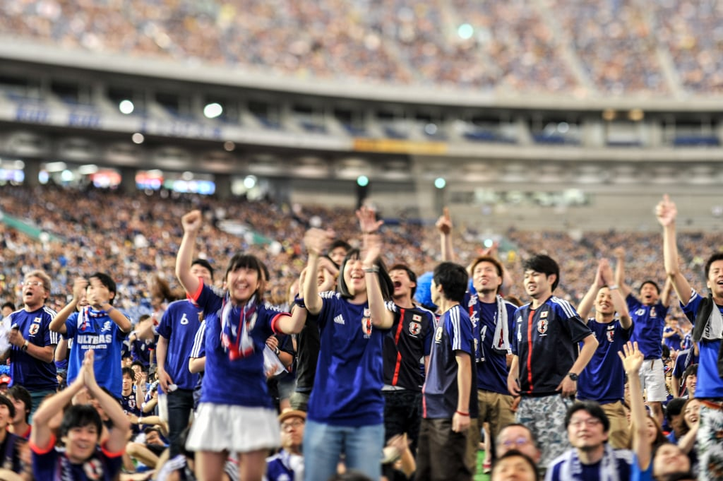Japanese fans cheered for their team during a viewing event at the Tokyo Dome in Japan.