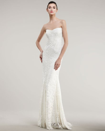 This Nicole Miller strapless lace bias gown ($2,995) would work well for a svelte bride that's not afraid to show off her figure. Just add a statement necklace for further flair.